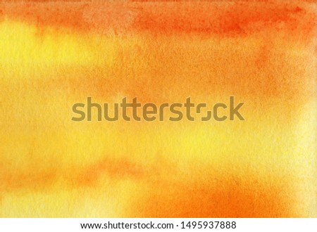 Abstract watercolor background. Gradient fill on wet yellow and orange colors. Smooth transition. Sunset orange sky. Autumn textural background. Tinted watercolor paper. Hand drawn illustration