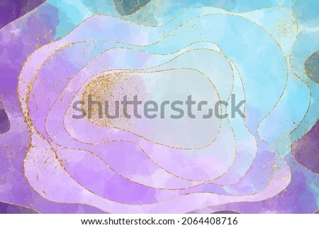 Abstract watercolor background in the technique of alcohol ink in blue, lilac and gold