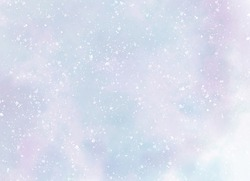 Abstract watercolor background. Snowfall on a cold blue winter background. Hand painted watercolor sky and clouds.
