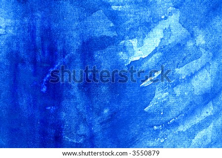 Abstract watercolor background with blue layers on visible paper texture