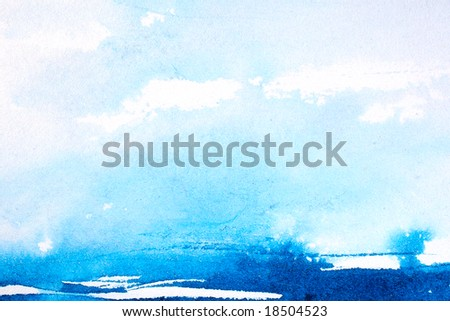 stock photo : Abstract watercolor background with blue wash layers