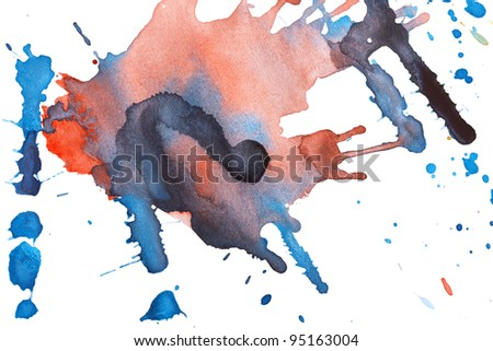 Abstract watercolor blots isolated on white background