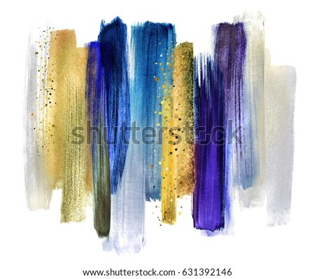 abstract watercolor brush strokes isolated on white, creative illustration, artistic color palette, grungy smear, indigo blue ultramarine gold, fashion background