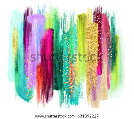 abstract watercolor brush strokes isolated on white, creative illustration, artistic color palette, grungy smear, emerald green fuchsia gold, boho fashion, ethnic background