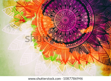 Abstract watercolor digital art painting and mandala graphic design on white color background for ancient geometric concept