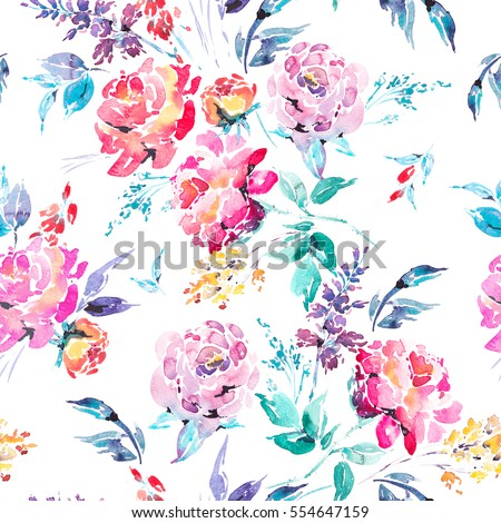 Abstract watercolor floral seamless pattern in a la prima style, red watercolor roses - flowers, twigs, leaves, buds. Hand painted vintage floral illustration isolated on white background.