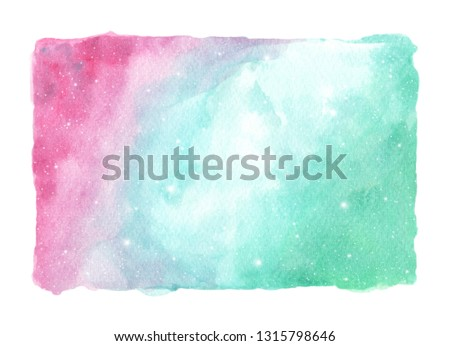 Abstract watercolor galaxy sky background, Cosmic texture with stars. Night sky isolated on white background. fantasy background and pastel color. ストックフォト ©