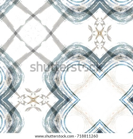 Abstract watercolor  geometric pattern for surface and textile design. Kaleidoscope aquarelle background. Ink textured backdrop. Modern wallpaper tile.