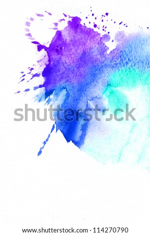Abstract watercolor hand painted background. Blue spot, watercolor abstract hand painted background
