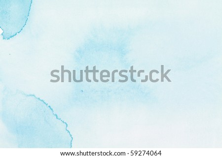 Abstract watercolor hand painted background. Sky and fluffy clouds