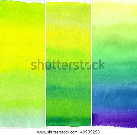 Abstract watercolor hand painted backgrounds set