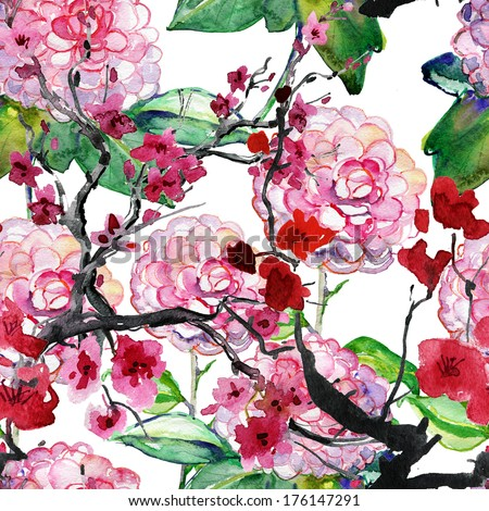 Abstract watercolor hand painted backgrounds with cherry pink camellia and plums flowers