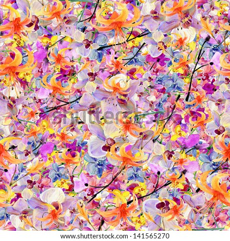 Abstract watercolor hand painted backgrounds with sakura and orchid.