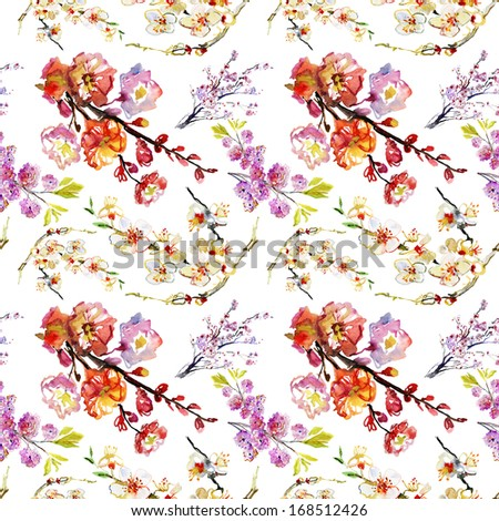 Abstract watercolor hand painted backgrounds with sakura and orchid