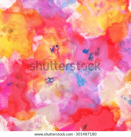 Abstract watercolor hand painted flowers.Floral background