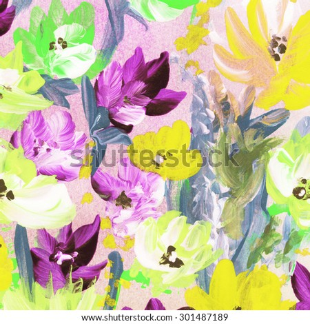 Abstract watercolor hand painted flowers. Floral background