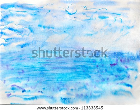 Abstract watercolor image of sea and sky