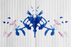 Abstract watercolor ink blot test   - Rorschach test used in Psychoanalysis. Colorful symmetric shapes, granulated ink isolated against white background