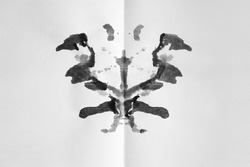 Abstract watercolor ink blot test   - Rorschach test used in Psychoanalysis. Symmetric shapes isolated against white background for interpretation