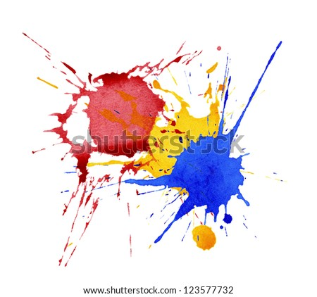 Abstract watercolor, ink splashes - stock photo