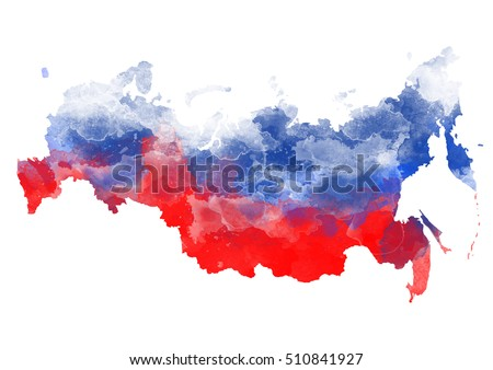 Abstract watercolor map of Russia