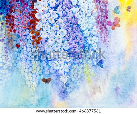 Abstract watercolor original painting white color of orchid flower and butterflies fly in blue background.
