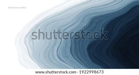 Abstract watercolor paint background dark blue gradient color with fluid curve lines texture and white space for text.