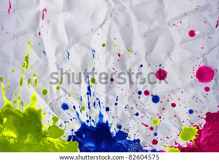 Abstract watercolor paint on creased paper #82604575