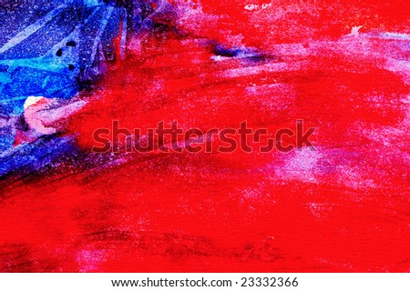 Abstract watercolor painted background with blue and red layers