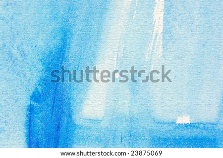 Abstract watercolor painted background with blue wash layers