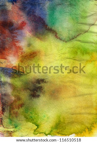 Abstract watercolor painting on grunge paper texture