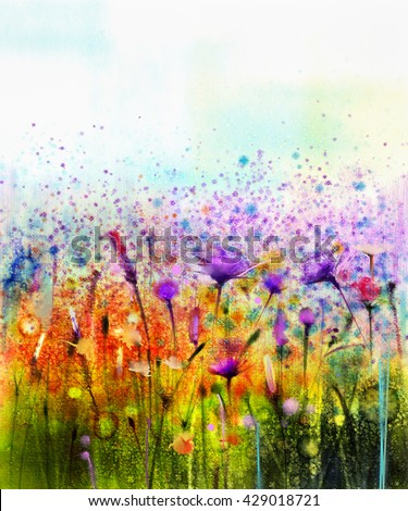 Abstract watercolor painting purple cosmos flower,cornflower, violet lavender, white and orange wildflower. Wild flowers meadow, green field paintings. Hand paint floral in meadows. Spring background
