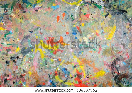 Abstract watercolor palette of Grange color, mix color, background a mixture of colors