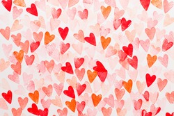 Abstract watercolor red, pink heart background. Concept love, valentine day greeting card.