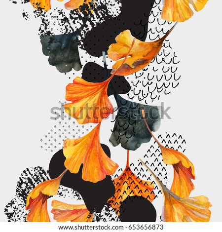 Abstract watercolor seamless pattern in autumn colors. Drawing of ginkgo leaves, ink doodle, grunge, water color paper textures. Floral background for fall design. Hand painted illustration