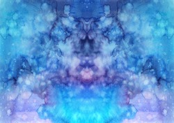 Abstract watercolor texture in blue and purple colors. Space background.
