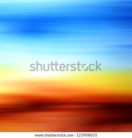 Abstract watercolor textured background: summer-themed landscape with yellow, blue, brown, and white patterns. For art texture, grunge design, and vintage paper / border frame - stock photo