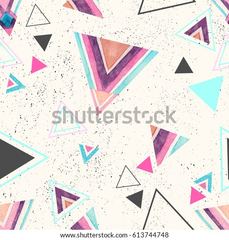 Abstract watercolor triangle seamless pattern on pastel background. Triangles with aztec ornament, lines, stripes, watercolor, grunge textures. Hand painted colorful illustration