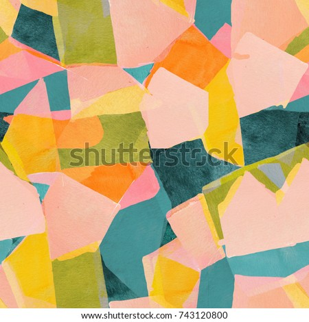 Abstract watercolour artistic geometric background. Contemporary seamless pattern