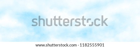 abstract watercolour painting blue sky overcast above the cloud in panorama view beautiful cloudscape for background