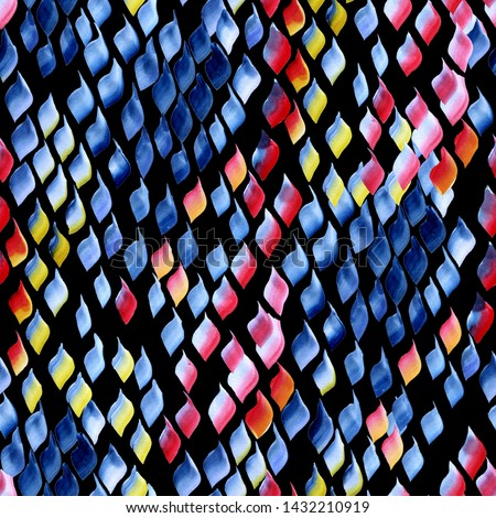 Abstract watercolour spots pattern seamless allover background vivid colour. Vivid Watercolor splash brushes amazing geometric animal print. Vivid snake skin decor.