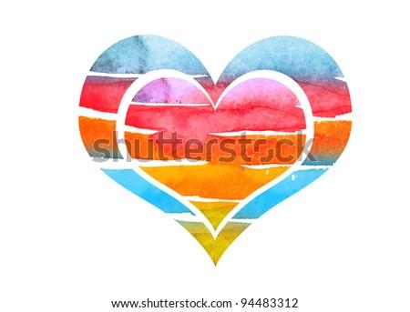 abstract watrcolor heart