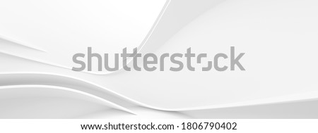 Abstract Wave Background. White Minimalistic Texture. Template 3d Illustration