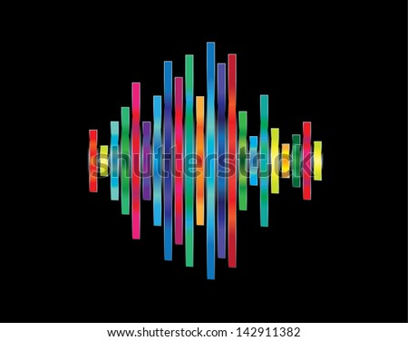 Abstract waveform with shiny rainbow colored bricks