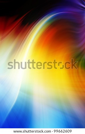 Abstract wavy background in blue, yellow and red tones.