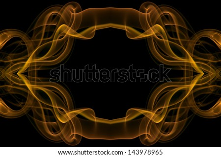 abstract wavy flowing smoke energy, orange motion on black background, abstract border