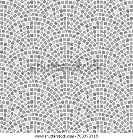 Abstract wavy seamless geometrical pattern with grey brush stroke texture on a white background. Floor tile, wallpaper, wrapping paper, page fill in Mediterranean ceramic mosaic style