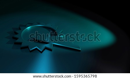 Abstract weather symbol. Sund and cloud. Symbolism. of a sunny day with a few clouds in the sky. 3D rendering of a metallic surface illuminated by blue spotlights. Dark background image in 16:9.