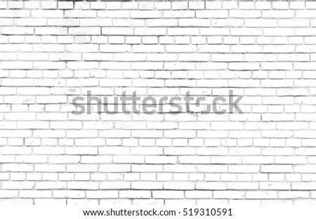 Abstract weathered texture stained old stucco light gray and aged paint white brick wall background in rural room, grungy rusty blocks of stonework technology color horizontal architecture wallpaper #519310591