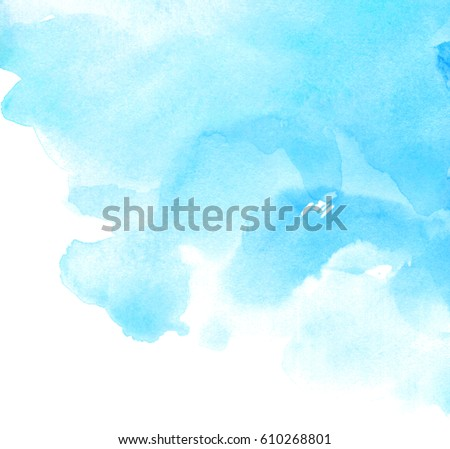 Abstract wet brush paint water color grunge illustration element for text design, print, template. Blue watercolor paper texture isolated hand drawn splash on white background for card, wallpaper, tag